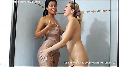 2 Thick Gorgeous Latina Teens Have Some Threesome Shower Fun and Cum