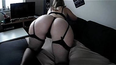 A big ass milf in sexy lingerie plays with my big dick!