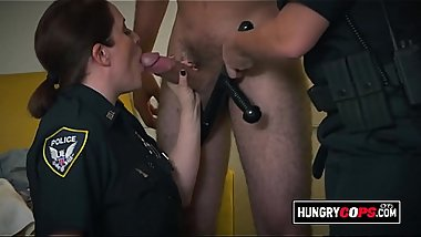 Blonde MILF cop riding a big black dick