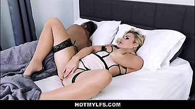 Horny Blonde MILF Sex With Daughters Boyfriend While Husband Sleeps