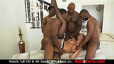 Perverted blonde Britney Amber and bouquet of black cocks