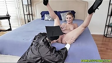Big tits stepmom gives stepson a fuck reward!