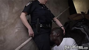 Handsome uniformed babes fuck with a hung criminal thug