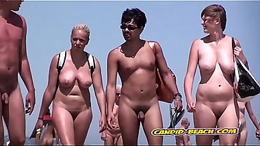 Sexy nudist females voyeured at the beach 2