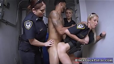 Black Guy Busted For No Reason &amp_ Fucked By White Milf Cops
