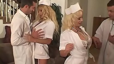 Hot blond nurse with gigantic tits shaved cunt fucked by doctor then tits jizzed