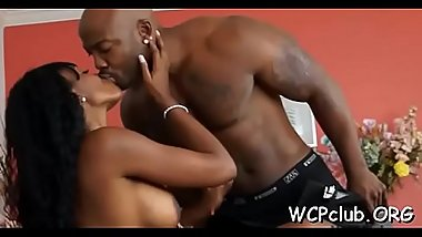 Black dude seduces stunning round assed chick to bang hard