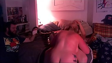 Blonde Chunky Wife Cuckolding Husband To Orgasm