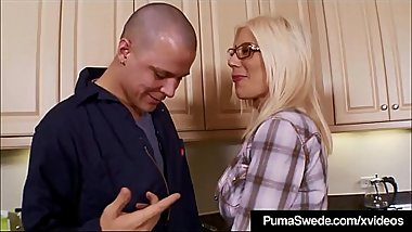 Queen of GlamFilth Puma Swede Fucks Repair Guy'_s Big Tool!
