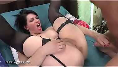 Amateur busty n chubby squirt french milf in lingerie hard sodomized