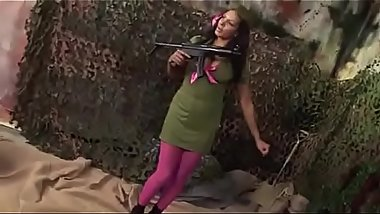 Military Babes India and Stacey Saran Fuck A Couple Soliders In A Fox Hole