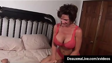 Busty Milf Deauxma Squirts in Magdelaine St.Michaels'_ Mouth!