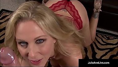 Mega Naughty Milf Julia Ann Talks Dirty &amp_ Deep throats Dick!