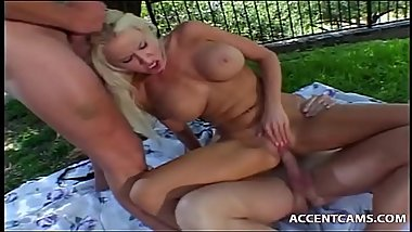 Two Guys Get Head And Tag Team Busty Blonde Outdoors